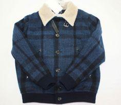 NEW BURBERRY Boys Wool Burtwell Blue Black Mega Check Jacket Lambskin