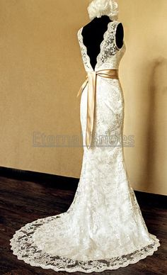 White/Ivory V-neckline Lace Wedding Dress Mermaid Gown with belt sweep train