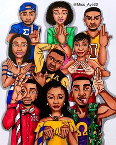 Rep y'all Fraternity/Sorority if you're in one ! Kappa Alpha Psi Fraternity, Phi Beta Sigma, Alpha Phi, Dope Cartoons, Dope Cartoon Art, Trippy Cartoon, Black Love Art, Black Girl Art, Black Fraternities