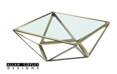 Geometric Prizmaas Square Cocktail Table Available in Clear Glass Top or Smoky Grey Glass Top Tempered Glass...