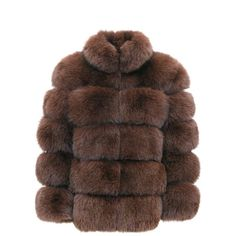 Aya Jacket Brown ($1,490) ❤ liked on Polyvore featuring outerwear, jackets, brown fur jacket, brown jacket, fox jackets, fox fur jacket and fur jacket