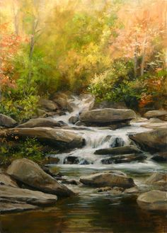 Kai Fine Art is an art website, shows painting and illustration works all over the world. Bright Paintings, Beautiful Paintings, Beautiful Landscapes, Pond Painting, Forest Waterfall, Waterfall Paintings, Autumn Scenery, Landscape Artwork, Mountain Paintings