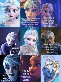 Battle ship on we heart it... Jack Frost and Elsa's reaction. Not by me. JELSA VS JUACKUNZEL WAR IS ON!!! TROOPS, PREPARE FOR BATTLE!!!
