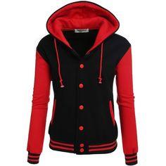 Zeagoo Women's High Quality Bomber Baseball Jacket Hoodie Sweatshirt ($28) ❤ liked on Polyvore featuring tops, hoodies, sweatshirts, hoodie sweatshirts, hooded pullover, red hoodie, red hooded sweatshirt and hooded pullover sweatshirt