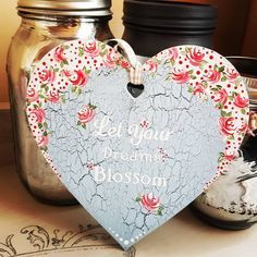 'Dreams' - A gorgeous hanging heart in a pale blue wood cracked effect chalk base with red vintage roses. I love the sentiment on this. £8 plus p&p. #shabbychic #vintage #handpainted #youcanfolkit #smallbusiness #mothersday