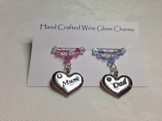 Wine Glass Charms - Mum and Dad Wine Glass Charms, Anniversary, Christmas Gift, Stocking Fillers Gifts For Mum, Great Gifts, Wine Glass Charms, Stocking Fillers, Anniversary Gifts, Swarovski Crystals, Personalized Gifts, Christmas Gifts, Charmed