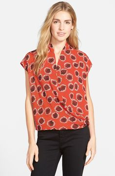 Short Sleeve Wrap Front Blouse (Nordstrom Exclusive)