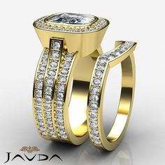 Bridal Set Cushion Diamond Halo Engagement Ring EGL E VS1 14k Yellow Gold 3.3 ct