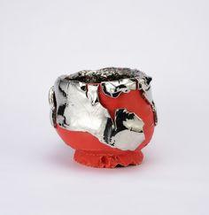 Red-slipped Platinum Kairagi Shino bowl