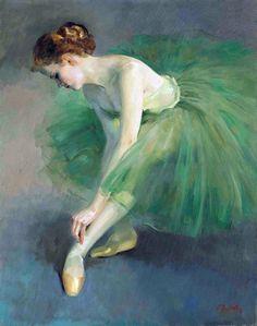Cottage Charm ~ Ballerina ~ Art ~ Green, Blue ~ Preparing To Dance, 1959, by Xing Jianjian