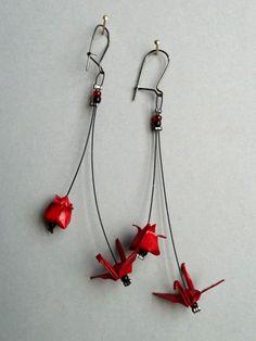 Boucles d'oreilles Origami Boucles d'oreilles Double grue et lotus rou