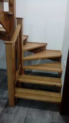 Garage Stairs with Landing . Garage Stairs with Landing . Porcelain Wood Look Tile Stairs Stairs And Staircase, Staircase Makeover, Deck Stairs, House Stairs, Stair Railing, Staircase Design, Stair Ladder, Small Staircase, Railings