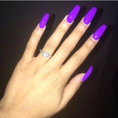 nail designs summer that are fabulous - - Spring Nails - Nageldesign Neon Purple Nails, Nails Yellow, Purple Acrylic Nails, Summer Acrylic Nails, Best Acrylic Nails, Bright Nails, Spring Nails, Bright Purple, Autumn Nails