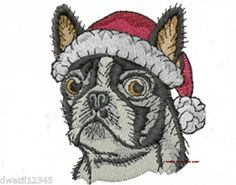 CHRISTMAS BOSTON TERRIER DOG - 2 EMBROIDERED HAND TOWELS by Susan