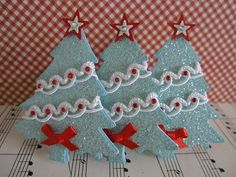 Blue Glittery Christmas Trees | Flickr - Photo Sharing! - made by vsroses