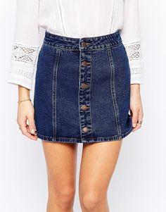 Изображение 3 из Джинсовая юбка на пуговицах New Look Petite