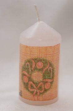 Christmas candle, DIY, decoupage, candle decoupage