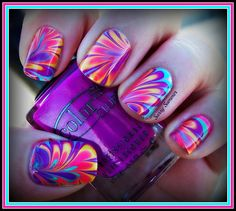 water marble nails by Sassy Summer Nails