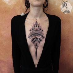 Mirja Fenris Tattoo - Famous Last Words Badass Tattoos, Sexy Tattoos, Unique Tattoos, Beautiful Tattoos, Black Tattoos, Backpiece Tattoo, Sternum Tattoo, Mandala Tattoo, Tattoo Ink