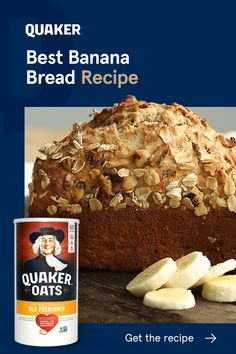 Fill your kitchen with the scent of comfort. Good starts with a slice of our Best Banana Bread Recipe made with Quaker Oats. Snack Recipes, Dessert Recipes, Cooking Recipes, Snacks, Best Banana Bread, Oatmeal Banana Bread, Easy, Banana Bread Recipes, Sweet Bread