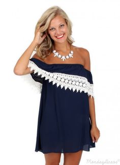Girls Of Fall Navy And Ivory Crochet Dress | Monday Dress Boutique