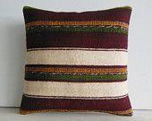 HANDWOVEN red stripe pillow case burgundy striped throw pillow cream stripe pillow cover white  ticking stripe pillow red kilim pillow 11301