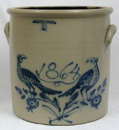"""Historical """"1864"""" Whites Utica 5 gallon crock with the double birds on a branch."""