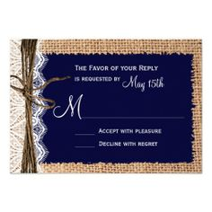Rustic Country Burlap Lace Twine Wedding RSVP Invites