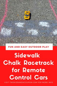 This sidewalk chalk racetrack for remote control cars is a fun and easy way to get kids out of the house and playing outdoors
