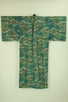 Rikyu gray color nagajuban / 利休鼠色地 風景柄 メリンス長襦袢    #Kimono #Japan http://global.rakuten.com/en/store/aiyama/