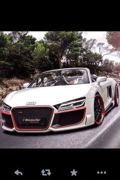 Pink and white Audi