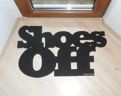 Custom doormat: Shoes Off. Home decor. Elegant floor mat.