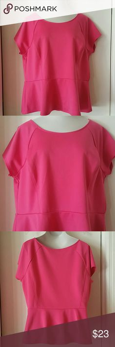 Bright Pink Peplum Top Lovely bright pink peplum top, pullover style with short sleeves. Material is 93% polyester 7% spandex. Excellent condition.   No Trades Worthington Tops