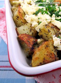 The man in your life will love this! Roasted Greek Potatoes with Feta Cheese and Lemon.