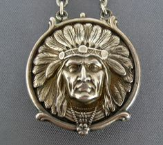 Victorian Indian Chief Sterling Silver Watch FOB, Kerr Unger