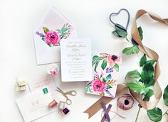 calligraphy floral pink wedding invitations, spring invite inspiration | Smitten on Paper