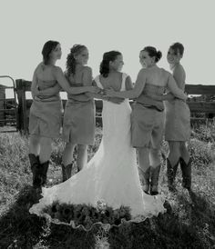 Western wedding girls in boots sunflowers... I want a pic like this of my girls
