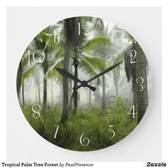 Tropical Palm Tree Forest Large Clock Large Clock, Tree Forest, Wall Clocks, Palm Trees, Tropical, Display, Artwork, Prints, Outdoor
