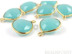 Large Natural Aqua Blue Chalcedony Bezel Heart Shape by Beadspoint, $11.99