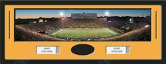 One framed large University of Missouri stadium panoramic with openings for one or two ticket stubs* and one or two 4 x 6 inch personal photos**, double matted in team colors to 39 x 13.5 in.  The lines show the bottom mat color.  $179.99 @ ArtandMore.com
