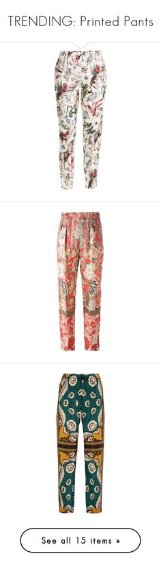 """TRENDING: Printed Pants"" by euphemiasun97 ❤ liked on Polyvore featuring pants, capris, bottoms, trousers, valentino, animal prints, embellished pants, white crop pants, all over print pants and white pants"