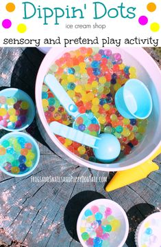 Dippin' Dots Ice Cream Shop Sensory and Pretend Play activity idea for kids!