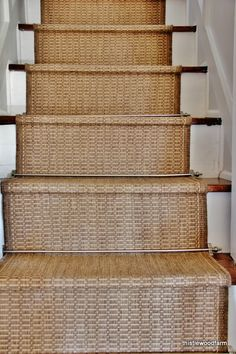 DIY:: Easy Inexpensive Option for a Rustic Stair Runner ! Looks Custom & High End! Yet She made it so cheap in SUCH a clever way! full tutorial by Thistlewood Farms