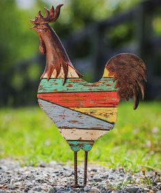 Take a look at Rustic Americana: Outdoor Décor on zulily today! Rooster Statue, Chickens And Roosters, Garden Statues, Rustic Charm, Painted Signs, Country Decor, Garden Art, Evergreen, Flower Pots