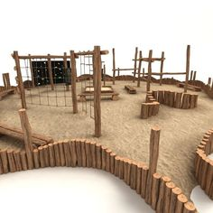 wooden playground 3d obj - Small Wooden Playground... by mellow box