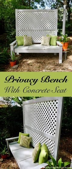 Outdoor bench with privacy wall built in. So smart!