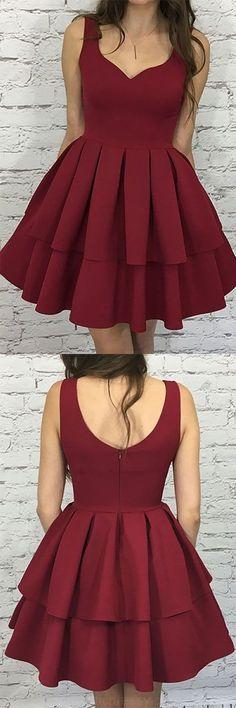 Burgundy Prom Dresses, Knee Length Prom Dresses, #shortpromdresses, A Line Prom Dresses, Prom Dresses Short, Short Prom Dresses