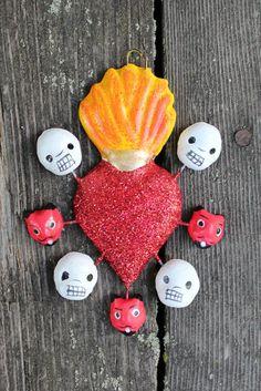 Mexican Folk Art Dias De Los Muertos, Day of the Dead, Devils, Skulls & heart!!