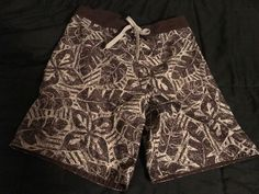 8667c2a6f0 BREAKWATER Men's Brown Tiki Tropical Swim Shorts Swim Trunks Combo Board  Size S #fashion #