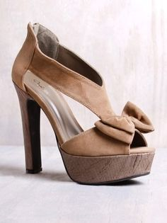 Qupid Drama-42 Taupe Velvet Bow Platform Heel in Shoes All Shoes at Frock Candy - StyleSays